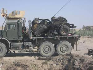 The destroyed Humvee of Philips and Johnson.