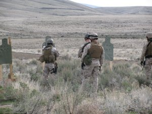 Recapture Tactics Team Marines train to standard on silhouette targets at Yakima, WA. Winter 2010