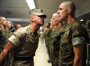 A Sergeant Instructor addresses a Candidate at Marine Officer Candidate School