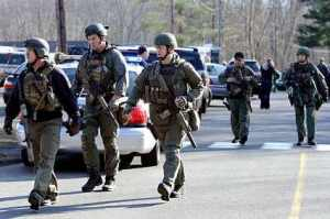 A State Police SWAT team seen after the shooting at Sandy Hook Elementary school in Newtown, CT.