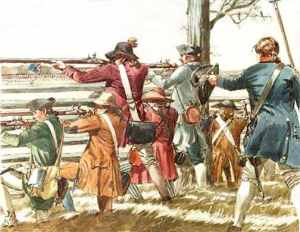 "Colonial militia - populary known as ""Minute Men"" - fire on British soldiers during their retreat from Concord."