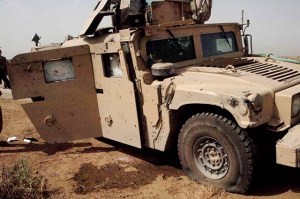 A Humvee damaged in combat.