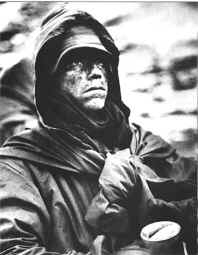 A Marine shows the strain during bitterly cold weather during the fighting withdrawal from the Chosin Reservoir in November and December 1950.
